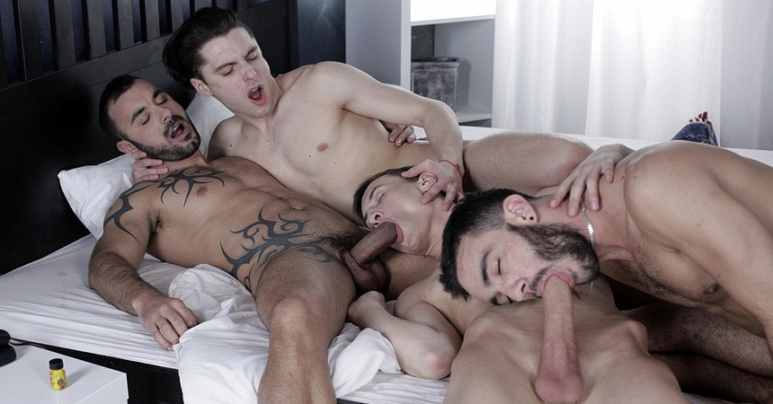 Power bottom Johny Cruz takes three cocks up his ass… again!