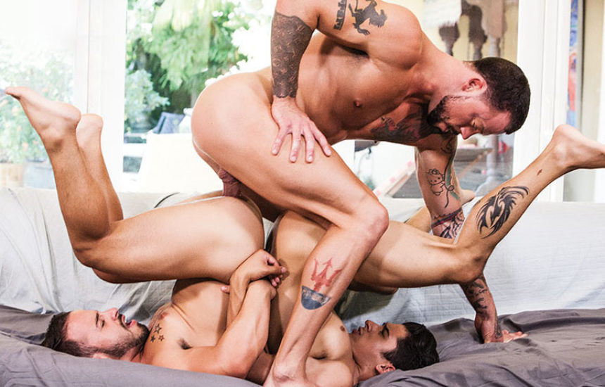 Sean Duran, Rafael Lords and Armond Rizzo in a super hot bareback threesome