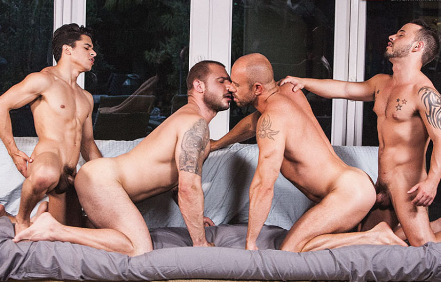 """Armond Rizzo and Rafael Lords fuck Pedro Andreas and Matt Stevens in """"Lads Fucking Dads"""""""
