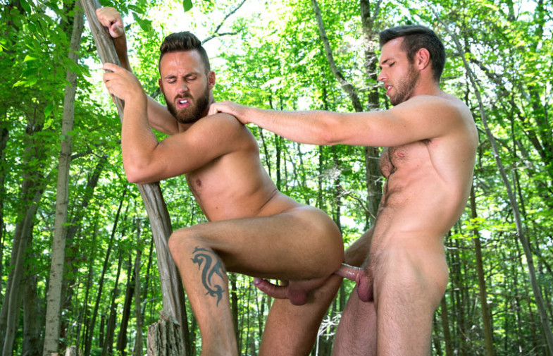 Alex Mecum and Logan Moore in an outdoor flip-fuck scene