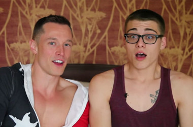 Davey Wavey and Blake Mitchell from Helix Studios get autoblown during interview