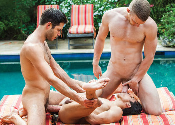 Jake Andrews and Leo Alexander tag-team Armond Rizzo in a raw threesome