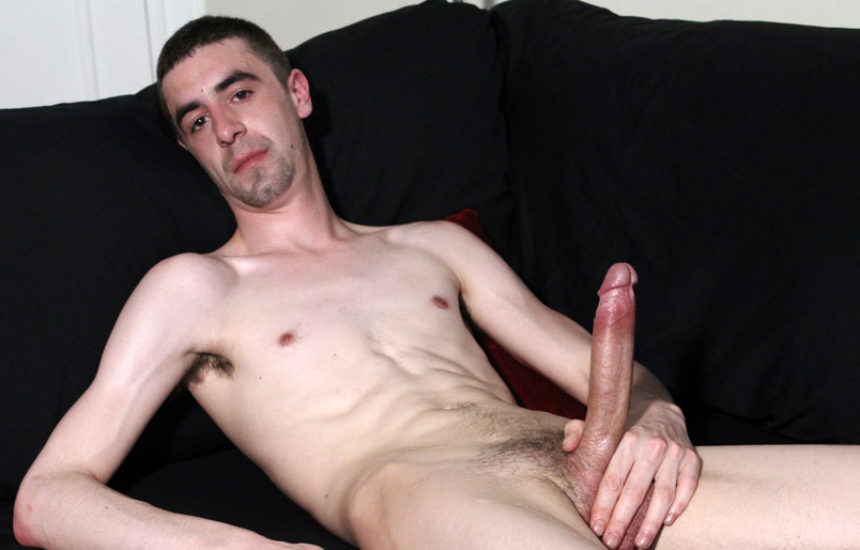 McKenzie Stark strokes his huge uncut cock and drops a load