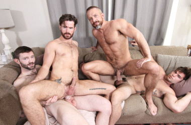 "Dirk Caber and Brendan Patrick get fucked by Aspen and Dennis West in ""The In-Laws"" part 3"
