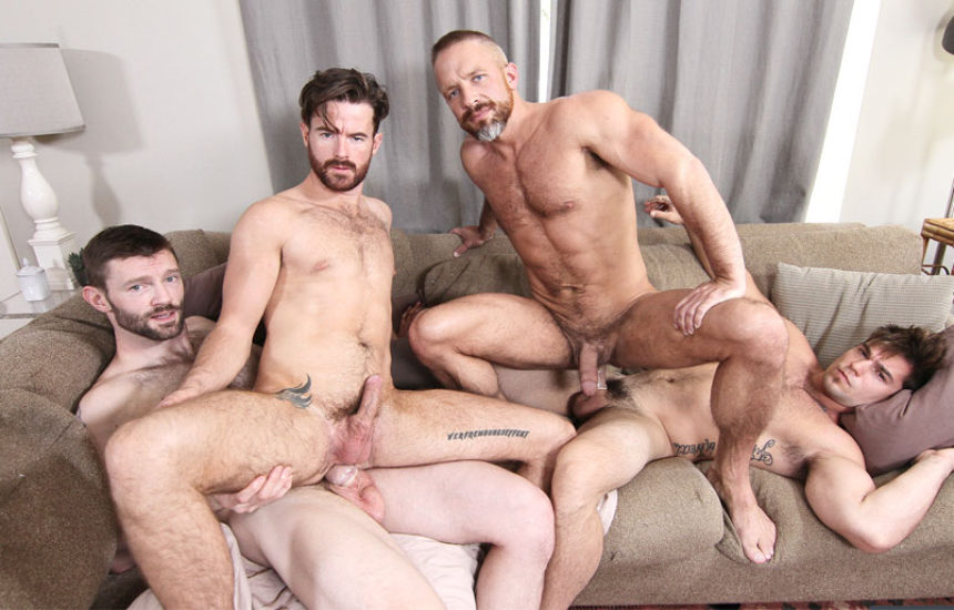 """Dirk Caber and Brendan Patrick get fucked by Aspen and Dennis West in """"The In-Laws"""" part 3"""