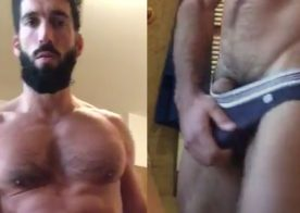 Bearded hunk shows off his meaty cock and big ass