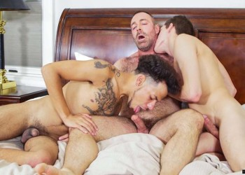 Hairy daddy Brad Kalvo, Tayveon Martin and Kory Houston fuck at Icon Male