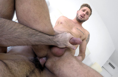 "Billy Santoro gives Wesley Woods' ass a good workout in ""Wet Hard Cock"" from Gay Room"