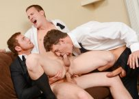 """JJ Knight and Connor Maguire fuck Tommy Regan in """"The Groomsmen"""" part two from Men.com"""