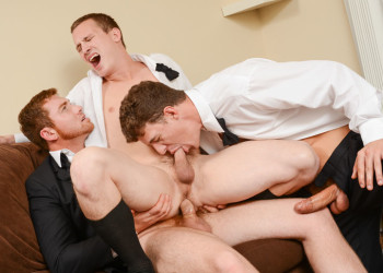 "JJ Knight and Connor Maguire fuck Tommy Regan in ""The Groomsmen"" part two from Men.com"