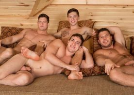 "Brodie, Joey and Rowan fuck Lane in ""Winter Getaway Day 4"" from Sean Cody"