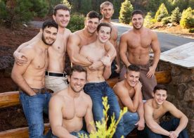 "Sean Cody's ""Winter Getaway Day 5"" brings us a nine-man bareback orgy"