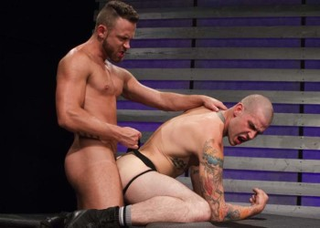 """Logan Moore and Buck Richards flip-fuck in """"Slam that hole"""" part 3 from Hot House"""