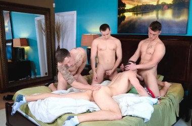 "Damien West, Drake Tyler, Markie More and David Stone fuck in ""Caught in the Action"""