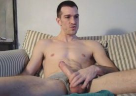 Very horny amateur jerks off and eats his cum load