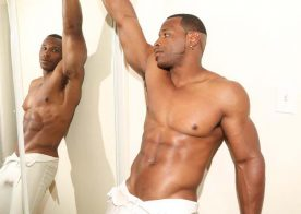 Body-builder Akira Jyn rubs out a juicy load at Next Door World