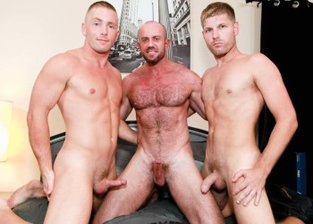 Matt Stevens, Peter Fields and Scott Riley in a passionate threesome from Pride Studios