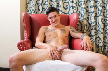 Tatted hunk Allan strokes his delicious cock and drops a nice load at Active Duty