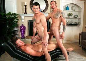 Johnny Riley, JJ Knight and Mark Long in a bareback threesome fromNext Door Raw