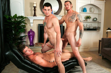 Johnny Riley, JJ Knight and Mark Long in a bareback threesome from Next Door Raw