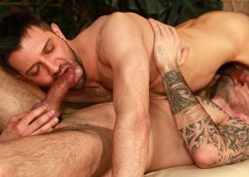 Nathan Raider tops inked hunk Issac Jones at UK Naked Men