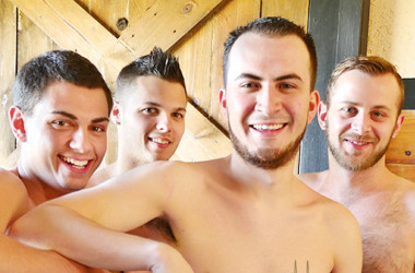 David Hardy, Chandler Scott, Gage Owens and Tyler Griffin in a bareback foursome