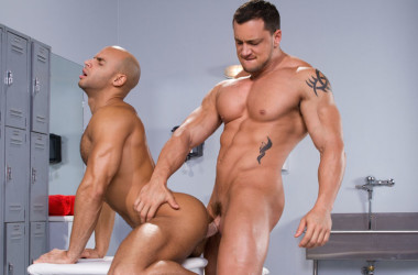 "Muscle top Joey D fucks Sean Zevran in ""Beef Squad"" part one from Raging Stallion"