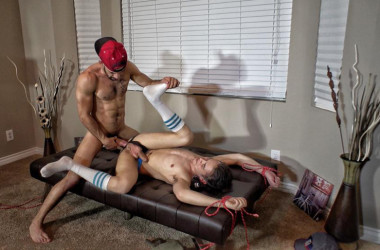 Ross Wilcox gets bound, edged and fucked by Austin Wilde at Guys In Sweatpants