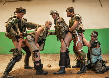 "Paddy O'Brian, Damien Crosse, Hector De Silva, Dario Beck and Jay Roberts in ""Apocalypse"" part 4"