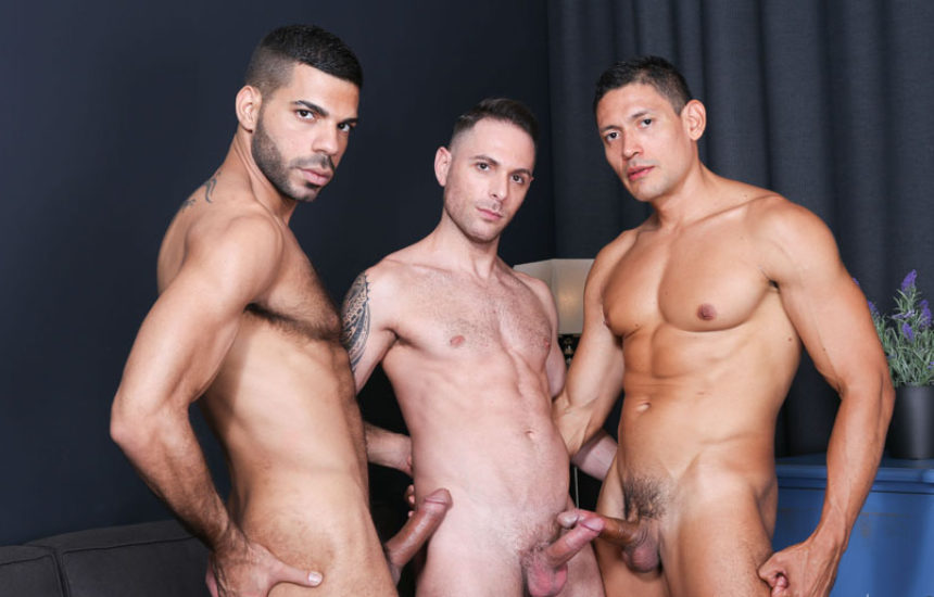 Hugo Arenas, Aitor Bravo and John Rodriguez in a bareback threeway from Kristen Bjorn