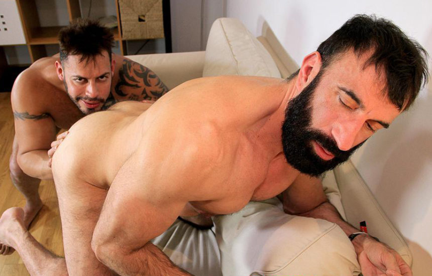 Bearded stud Viktor Rom raw-fucks Casio's hungry hairy ass at Butch Dixon