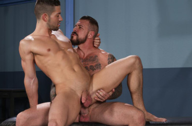 """Kyle Kash takes Rocco Steele's big cock in """"Stiff Sentence"""" part 4 from Hot House"""