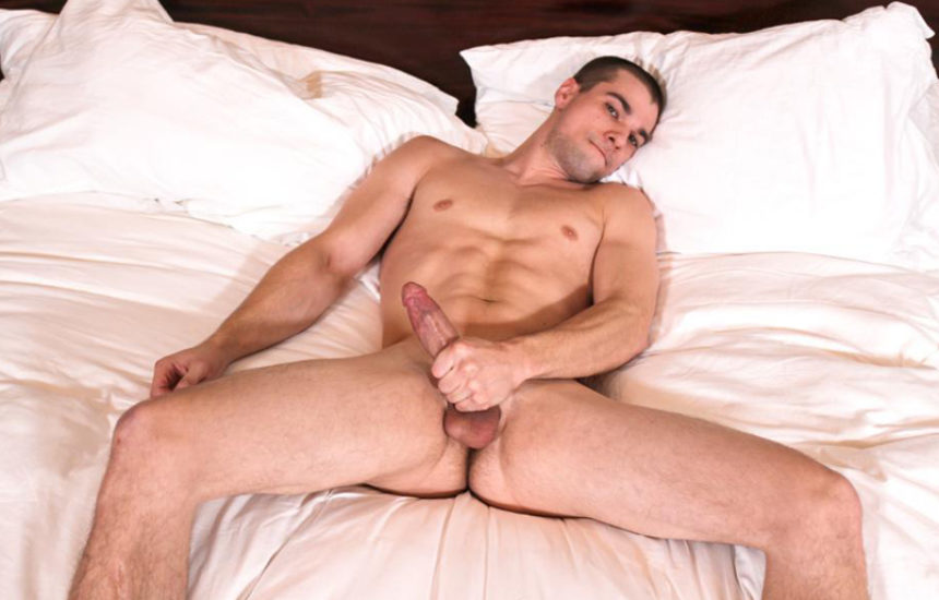 Muscular hunk Princeton Price jerks his hard cock for Active Duty