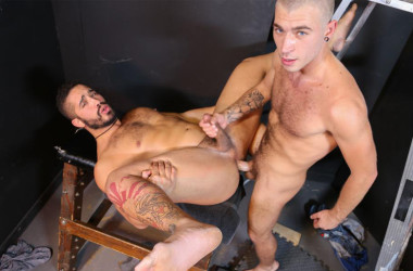 "Trey Turner bottoms for Alex Greene in ""Can't host, where can we fuck?!"" from Pride Studios"