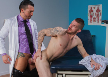 """Jimmy Durano fucks Tryp Bates in """"Doc's Orders"""" part one from Hot House"""