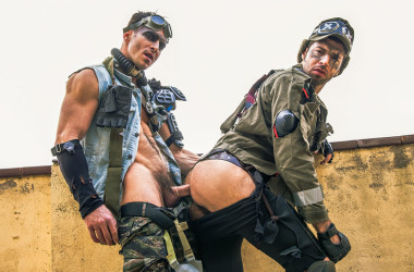 "Dario Beck takes Paddy O'Brian's thick cock in ""Apocalypse"" part three from Men.com"