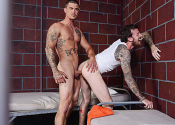 """Sebastian Young plows Rocko South raw in """"Barebacked In Prison"""" part 3 from Bromo.com"""