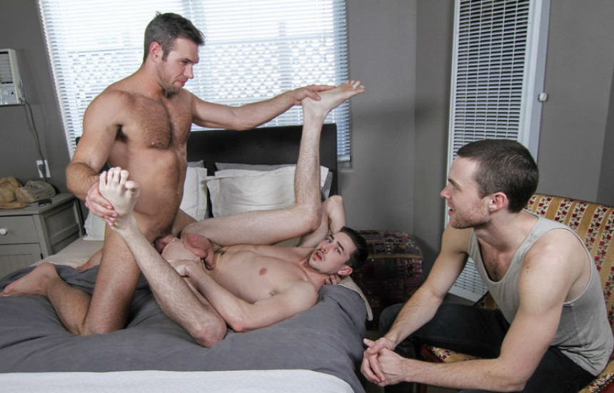 "Alex Mecum fucks Jack Hunter's perfect hole in ""Watching My Husband"" part 3 from Men.com"