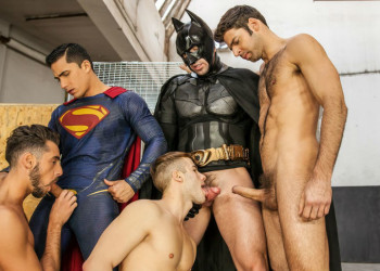 Topher DiMaggio, Trenton Ducati, Allen King, Dario Beck & Massimo Piano in a super hero orgy
