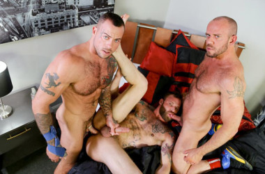 Sean Duran, Matt Stevens and Derek Parker in a hot threesome from Pride Studios