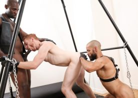 "Nubius and Dylan Henri taking turns to pound Leander's ass in ""Cuff Love"" from Next Door World"