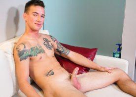 Inked recruit Matthew Reeves strokes his hard cock for Active Duty