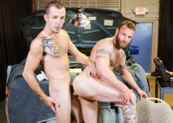"Derek Parker bottoms for Jimmy Slater in ""Big Dick Negotiations"" from Pride Studios"