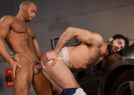 "Sean Zevran pounds Tegan Zayne in ""Drive Shaft"" part one from Raging Stallion"