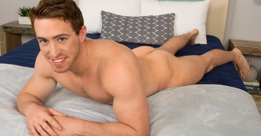 Hot jock Elliot plays with a butt plug and jerks off for Sean Cody