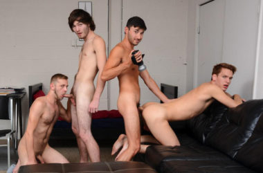 Caleb Rules, Chandler Scott, Scott Demarco, and Zack Grayson in a Reality Dudes fourgy