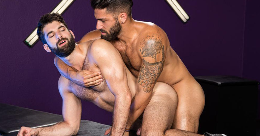 "Adam Ramzi pounds Tegan Zayne's hairy ass in ""Bout To Bust"" part one from Raging Stallion"