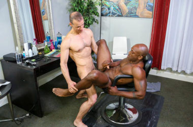 "Rodney Steele fucks Osiris Blade in Pride Studios' ""Barber Shop Sex"" part one"