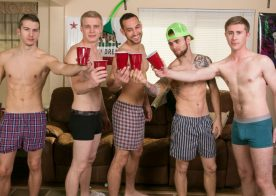 A birthday party turns into a hot five-guy orgy at Reality Dudes