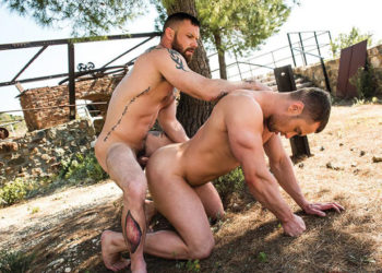 Sergeant Miles and Stas Landon in a bareback flip-fuck scene from Lucas Entertainment